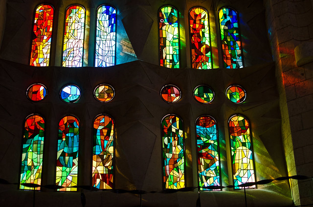 Incredible stained glass at La Sagrada Familia.