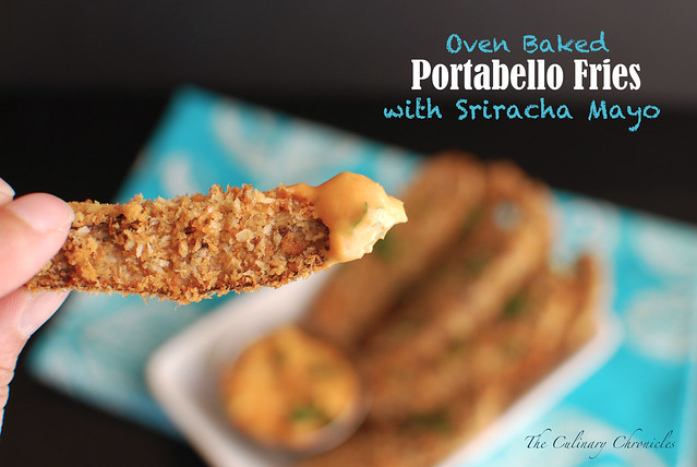 Oven Baked Portabello Fries with Sriracha Mayo