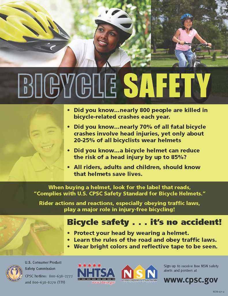 poster with bicycle safety data and tips
