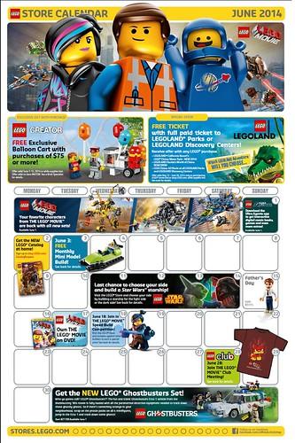 LEGO Store June 2014 Calendar