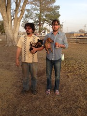 Adam Bork and Cory Lovell at dog park