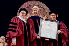 U.S. Secretary of State John Kerry receives a certificate of appreciation before he delivered the commencement address for Northeastern University's Class of 2016 on May 6, 2016, at TD Garden in Boston, Massachusetts. [State Department photo/ Public Domain]