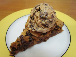 Chocolate Chip Skillet Pie with Peanut Butter Chocolate Chunk Ice Cream
