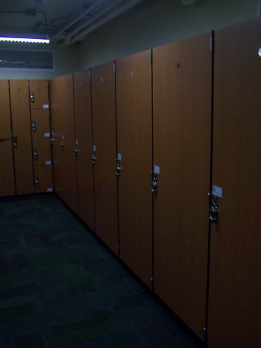 Lockers for commuters at the Indy Bike Hub/YMCA facility in Indianapolis, the mayor has locker #1 by rllayman