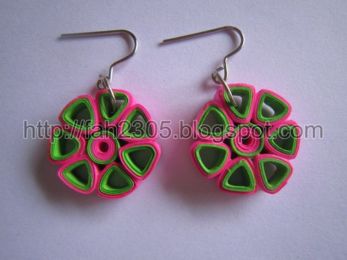 Paper Jewelry - Handmade Quilling Earrings (Flower Open Petals) by fah2305