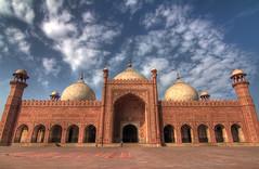 The main prayer hall of the Badshahi Mosque