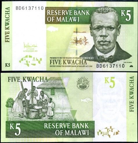 5 Kwacha Malawi 2005, Pick 36b