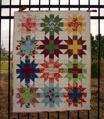 Star Crossed Stitch quilt - unwashed full shot
