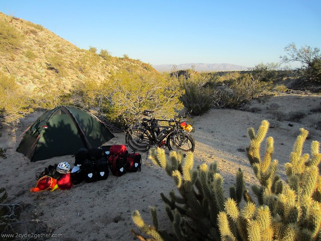Wild campsite in the desert, Hwy 3