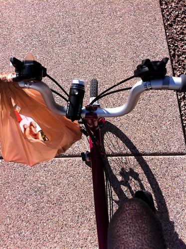 Grocery bag on brompton handlebar