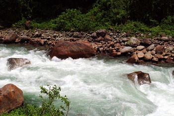 Dalong river flowing from Bhutan