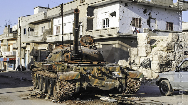 A destroyed Syrian army tank is shown in the Rastan area in Homs province, central Syria, Tuesday, March 20, 2012. (AP Photo)
