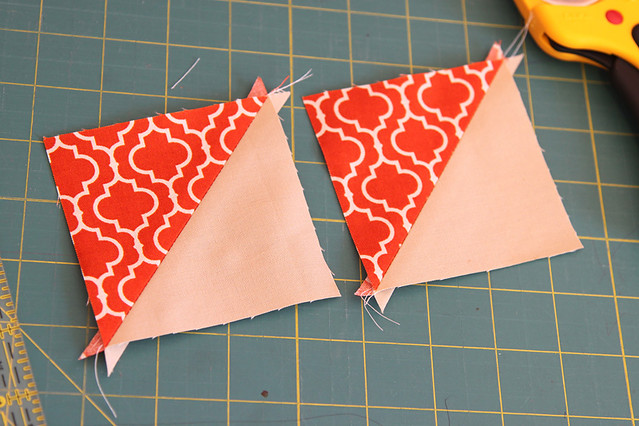 Pressing the half square triangle blocks