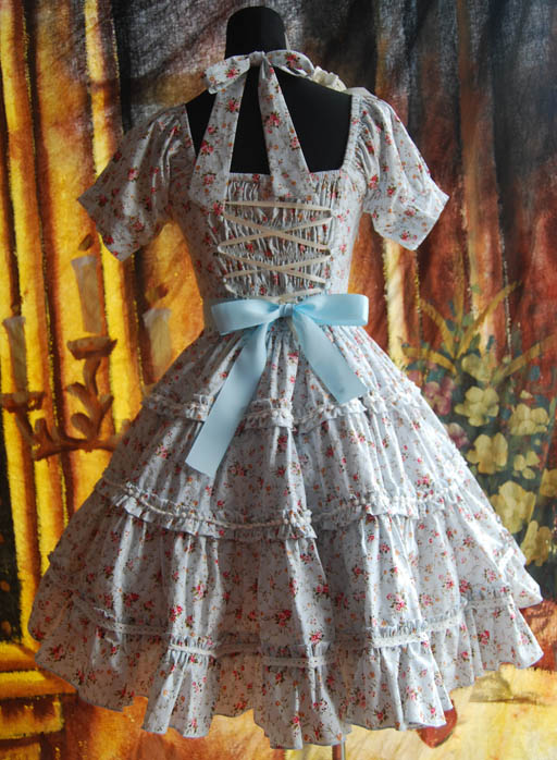 Infanta_Halter_Bowknot_Lace_Up_Printed_Cotton_Lolita_Dress_2
