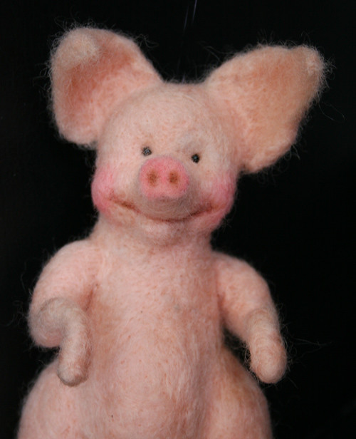 needle felted pig doll detail