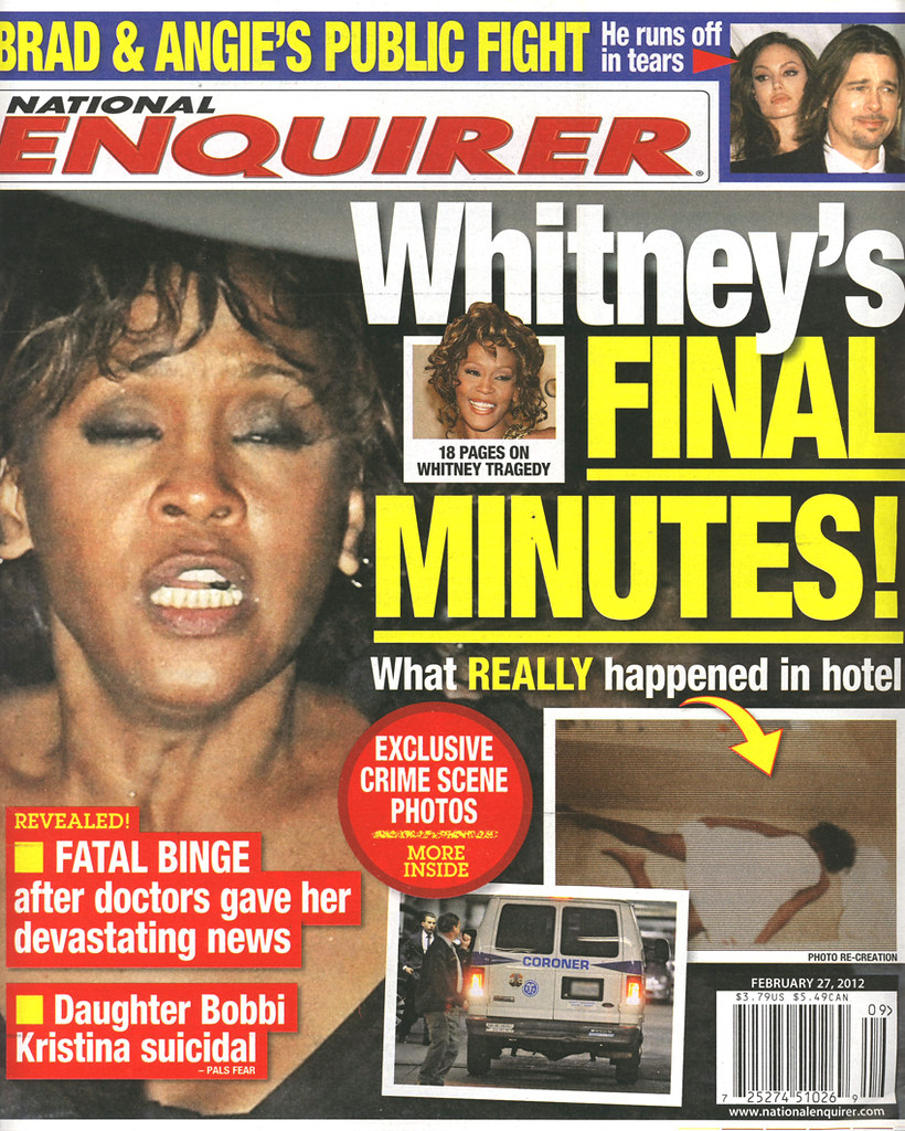 whitney houston death recreated scene national enquirer