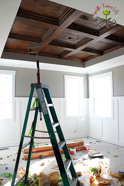 Our small town idaho life master bedroom wood ceiling diy for Cheapest way to add a room