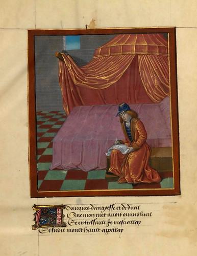 012- Rene d'Anjou escribe el relato de su sueño-fol 136v-Le livre du Coeur d'amour épris, par le roi René d'Anjou-1460-BNF