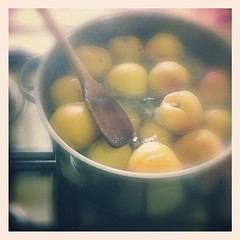 Stewing peaches