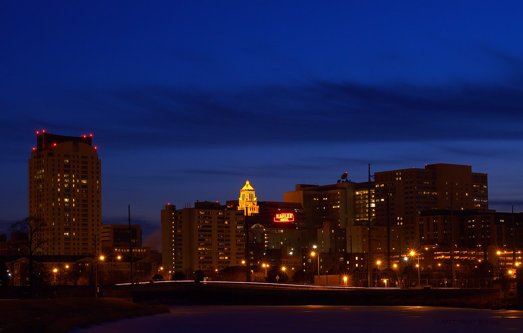 Downtown Rochester, MN at night