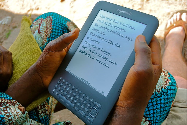 A page in a local children's book on a Worldreader Kindle