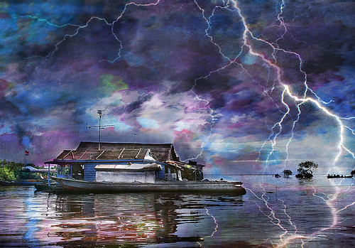 blue sea storm water asian boat cambodia purple magenta houseboat explore lightning