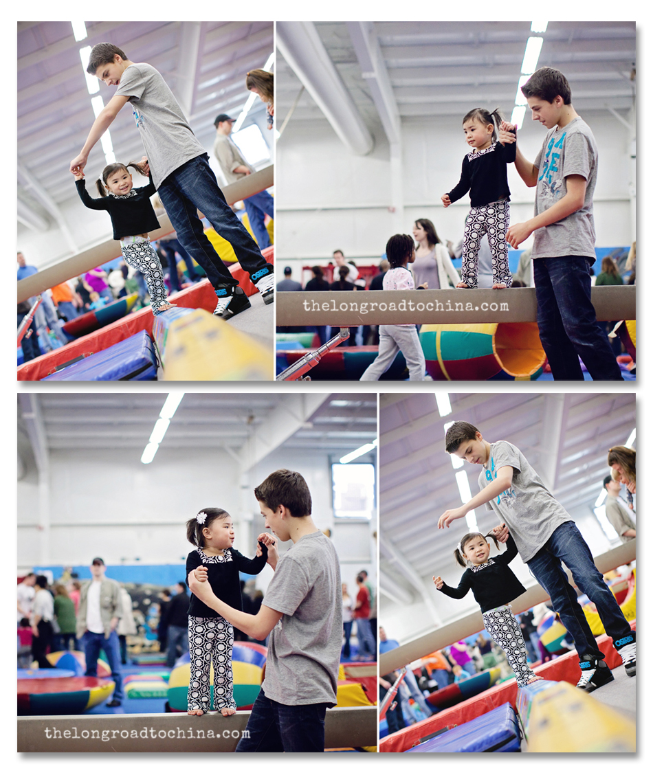 Balance Beam Walking With My Big Brother COLLAGE