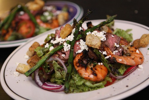 Grilled Skirt Steak and Shrimp Salad with Asparagus, Radish, Red Onion, Tomato, and Feta