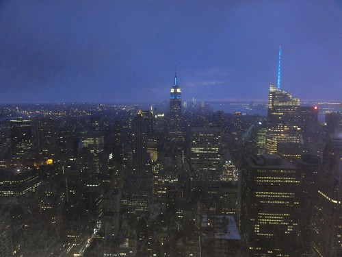 View of Empire State Building and Manhattan in snow storm from Top of the Rock Rockefeller Center