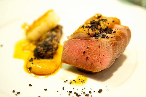 Main: saddle of lamb, slow cooked belly, lamb fat gnocchi, lemon curd, mushroom