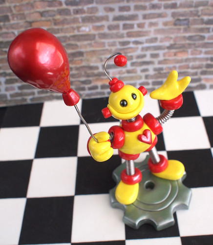 2nd Second Birthday Robot Cake Topper Miniature Sculpture by HerArtSheLoves