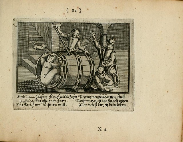 baroque indoor scene - man pokes stick into barrel containing people