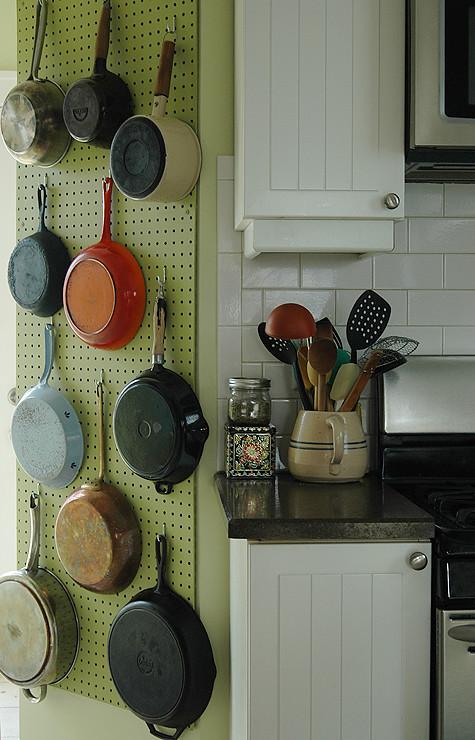a julia child pegboard pot rack. Black Bedroom Furniture Sets. Home Design Ideas