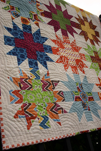 Star Crossed Stitch quilt - unwashed detail #2