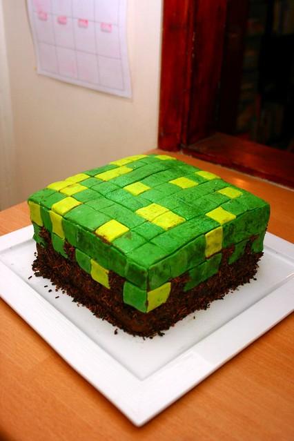 Minecraft grass block cake Flickr - Photo Sharing!