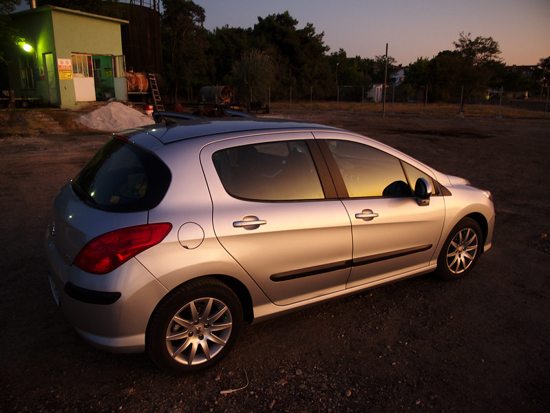 Our car in sunset light