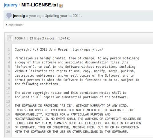 圖4: jQuery 的 MIT 授權全文 (https://github.com/jquery/jquery/blob/master/MIT-LICENSE.txt
