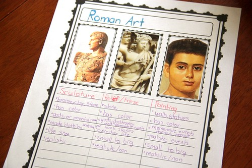 ancient roman art notebooking page