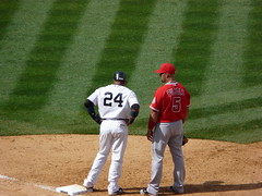 Robinson Cano and Albert Pujols on first base
