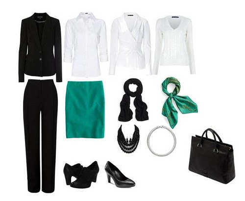 Black white green wardrobe