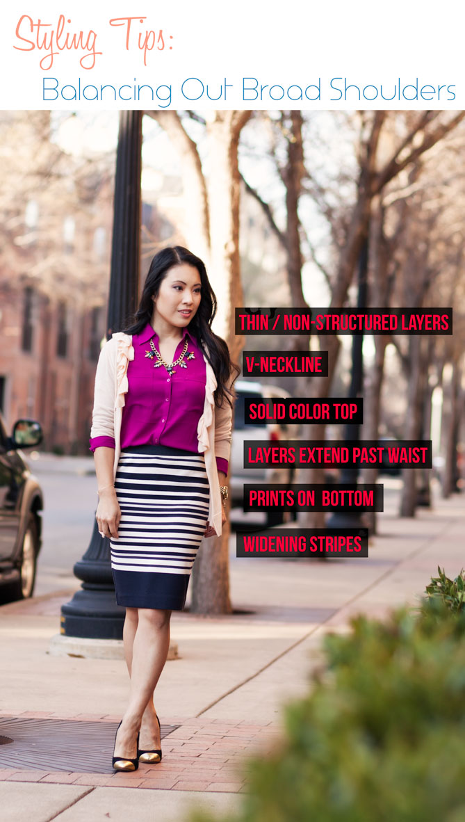 Styling Tips Balancing Out Broad Shoulders Cute Little Dallas Petite Fashion Blogger