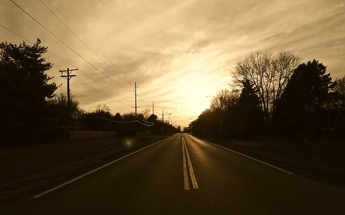 road sunset sky evening