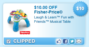 $10.00 Off Fisher-price Musical Table Coupon
