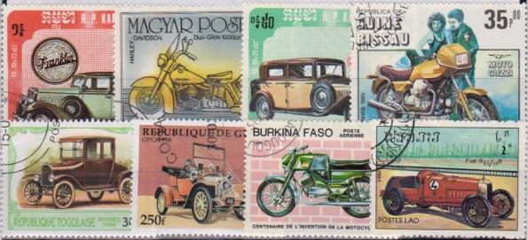 Známky - 25 rôznych, autá a motorky