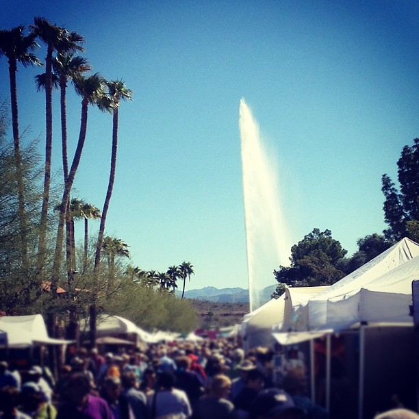 Yes, our booth has a fountain view.