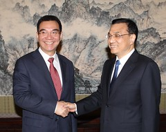 Chinese Vice Premier Li Keqiang and World Bank Chief Economist Justin Yifu Lin