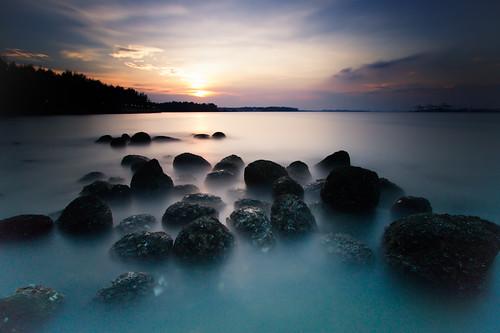 longexposure sunset fog clouds singapore stones nopeople motionblur tranquilscene canonefs1022mmf3545usm punggolbeach canoneos7d leebigstopper leesoftndgradfilter