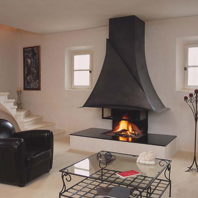 cheminee a bois foyer ouvert bois cheminee metal moderne ligne contemporaine Piros Flickr  # Cheminée Bois Moderne