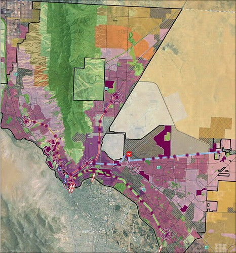 transit corridors with concentrated development areas in dark red (via Plan El Paso)
