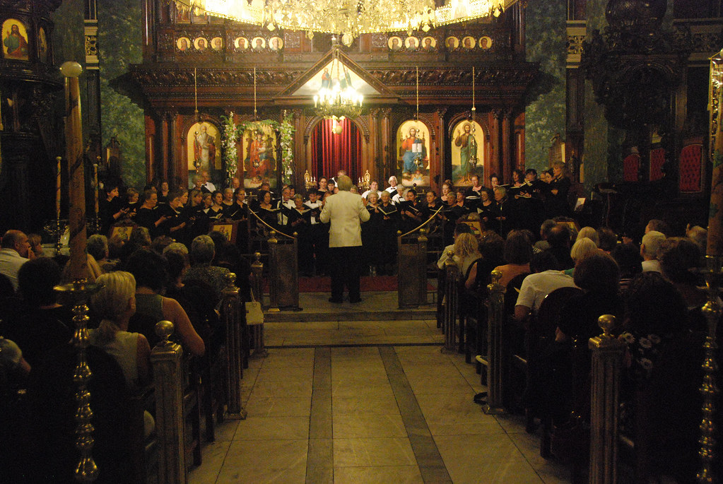Rachmaninoff Choir, directed by Anthony Antolini, performs in the Agios Therapon Church in Mytilene, Greece